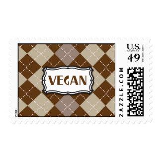 Vegan (Brown Argyle) Postage Stamp