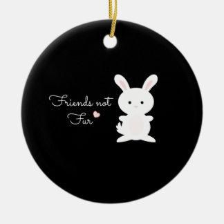 "Vegan Bunny ""Friends Not Fur"" Christmas Ornaments"