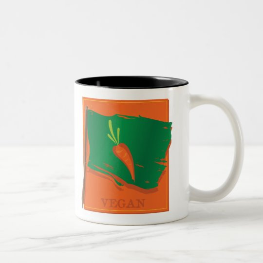 Vegan Carrot Flag Two-Tone Coffee Mug