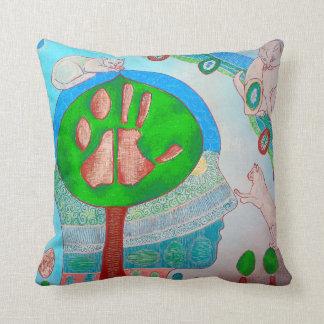Vegan cats tree throw pillow