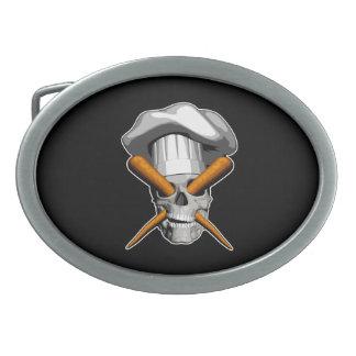 Vegan Chef Skull Belt Buckle