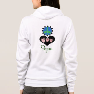 Vegan Chic Peace Love cute pigs Hoodie