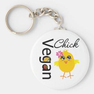 Vegan Chick Basic Round Button Keychain