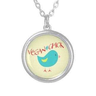 Vegan Chick Round Pendant Necklace
