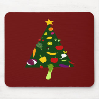 Vegan Christmas Tree Doodle Art Mousepad