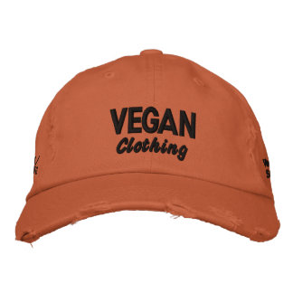 VEGAN Clothing Distressed Embroidered Baseball Cap