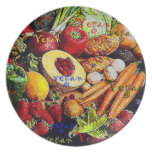 Vegan Colorfu Veggies Fruits  Folk Art Plate