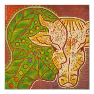 Vegan connection cow 5.25x5.25 square paper invitation card