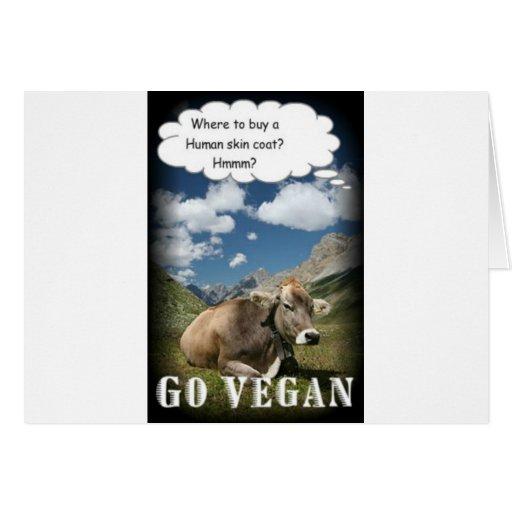 vegan cow greeting card
