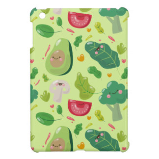 Vegan cute cartoon vegetable characters pattern iPad mini cases