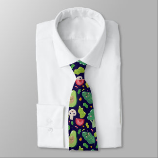 Vegan cute cartoon vegetable characters pattern neck tie