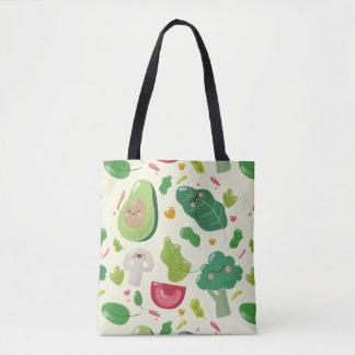 Vegan cute cartoon vegetable characters pattern tote bag