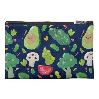Vegan cute cartoon vegetable characters pattern travel accessory bag