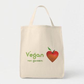 Vegan de corazón entero (corazón rojo de manzana) bolsa tela para la compra