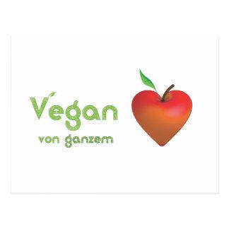 Vegan de corazón entero (corazón rojo de manzana) tarjeta postal
