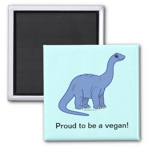 Vegan Dinosaur 2 Inch Square Magnet