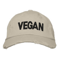VEGAN Distressed Embroidered Baseball Cap