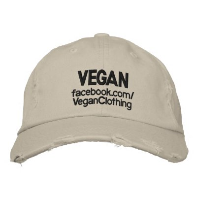 VEGAN Distressed Embroidered Hat