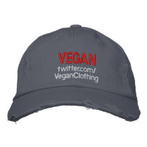 VEGAN Distressed twitter Embroidered Baseball Cap