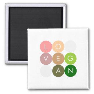 Vegan Dot Love 2 Inch Square Magnet