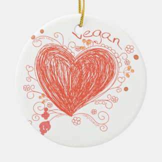 Vegan Double-Sided Ceramic Round Christmas Ornament