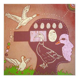 Vegan duck release 5.25x5.25 square paper invitation card