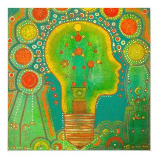 Vegan energy 5.25x5.25 square paper invitation card