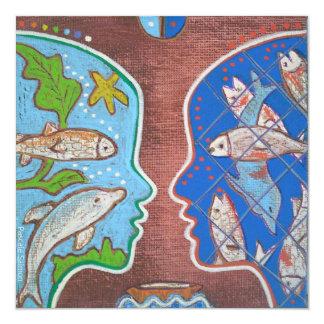 Vegan fish 5.25x5.25 square paper invitation card