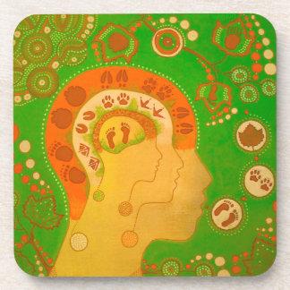 Vegan footprints beverage coaster