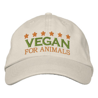 VEGAN FOR ANIMALS -002 EMBROIDERED BASEBALL HAT