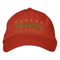 VEGAN FOR ANIMALS -003 EMBROIDERED BASEBALL HAT