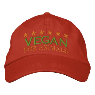 VEGAN FOR ANIMALS -003 EMBROIDERED BASEBALL HAT