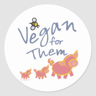 Vegan for Animals Classic Round Sticker