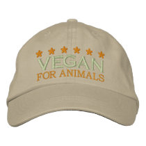VEGAN FOR ANIMALS EMBROIDERED BASEBALL HAT
