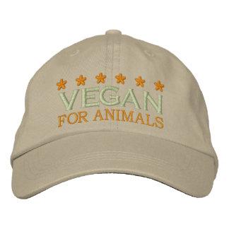 VEGAN FOR ANIMALS EMBROIDERED BASEBALL HAT