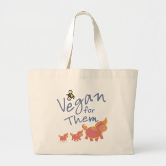 Vegan for Animals Large Tote Bag