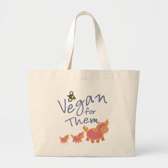 Vegan for Animals Large Tote Bag