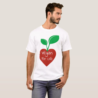 Vegan for Life Red Heart w Green Leaf Design Tee