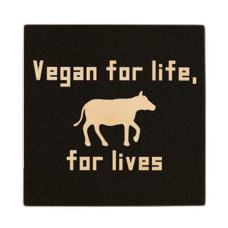 Vegan for life wood coaster