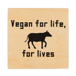 Vegan for life wooden coaster