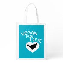 Vegan for Love of Animals Reusable Grocery Bag