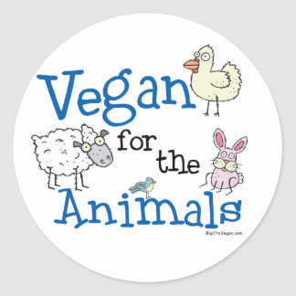 Vegan for the Animals Classic Round Sticker