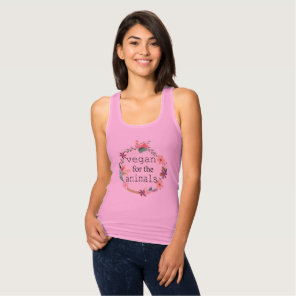 Vegan for the animals floral design t-shirt