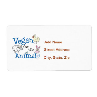 Vegan for the Animals Personalized Shipping Labels