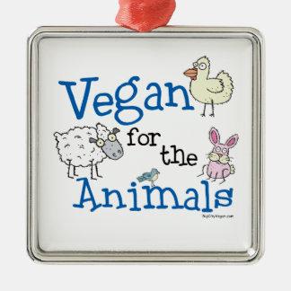 Vegan for the Animals Metal Ornament