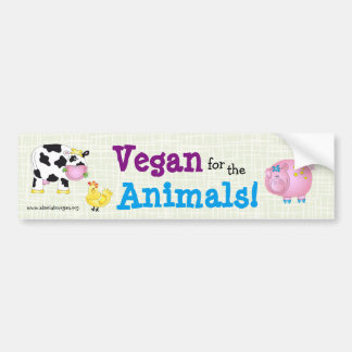"""Vegan for the Animals!"" with cute animals Bumper Sticker"