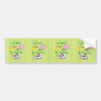 Vegan for the Animals with Cute Pig, Cow, Hen Bumper Sticker