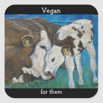 Vegan For Them Cow Sticker