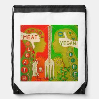 Vegan fork drawstring bag