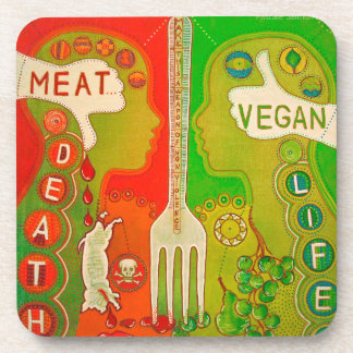 Vegan fork life beverage coaster